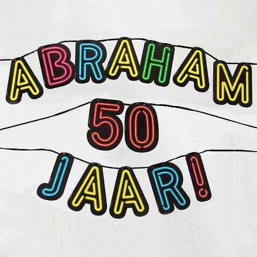 Letterslinger neon Abraham 50 jaar