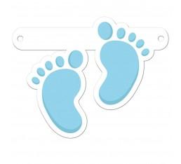Letterslinger spatie voetjes blauw