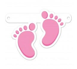 Letterslinger spatie voetjes roze