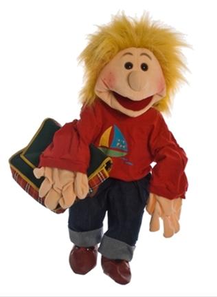 Living Puppet lasse met schooltas 65cm