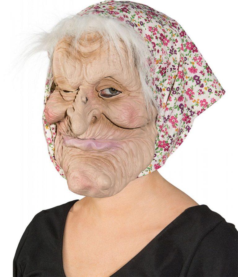 Masker oude vrouw met grote kin