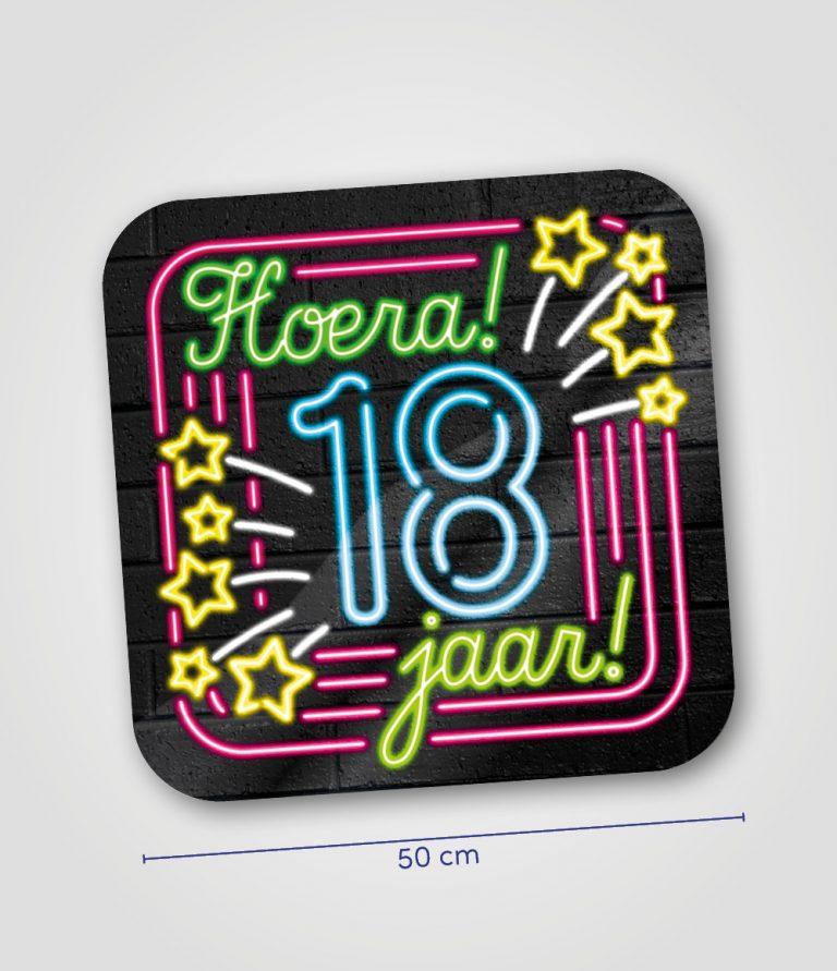 Neon huldeschild 18 jaar