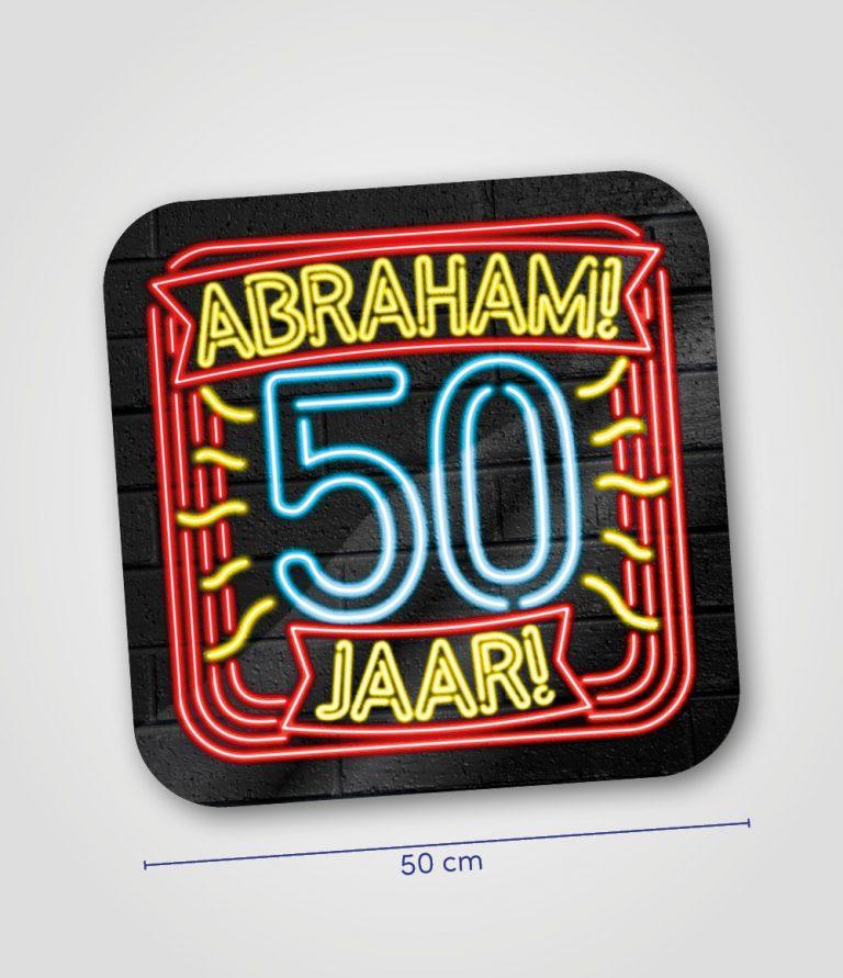 Neon huldeschild Abraham 50 jaar
