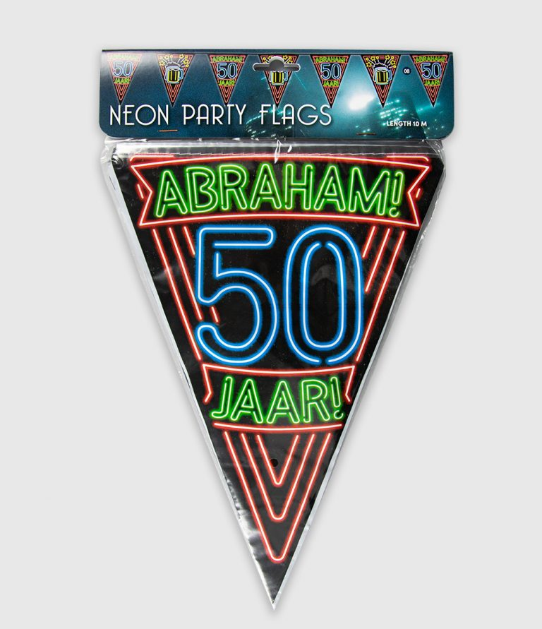 Neon vlaggenlijn Abraham 10 meter