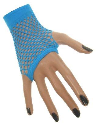 Nethandschoenen kort neon blauw