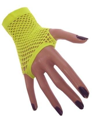 Nethandschoenen kort neon geel