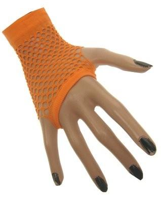 Nethandschoenen kort neon oranje