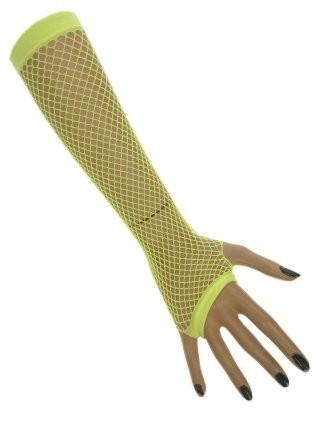 Nethandschoenen lang neon geel