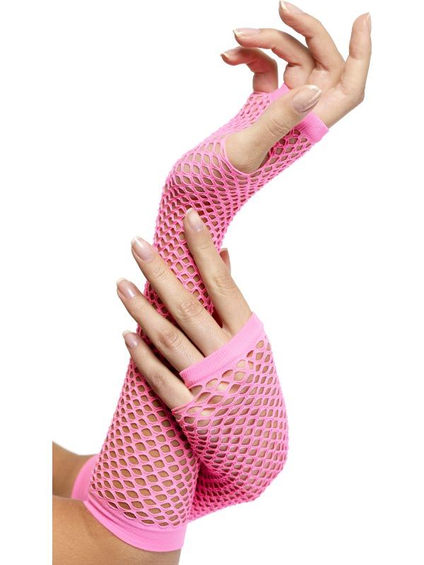 Nethandschoenen lang neon roze
