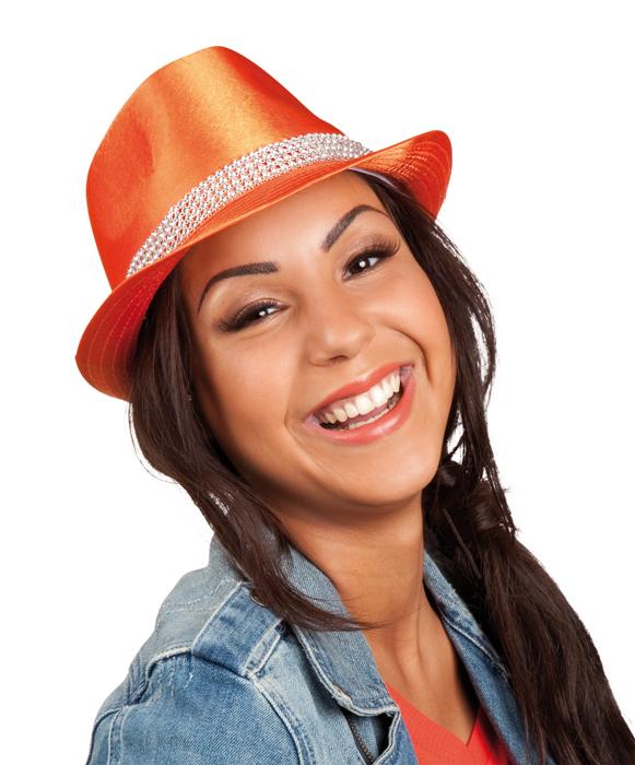 Oranje bling bling hoed