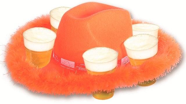 Oranje cowboy bierhoed