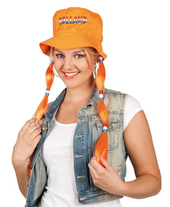 Oranje hoed met vlechten