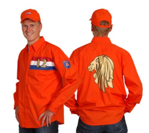 Oranje overhemd chique normaal 29,50 - S