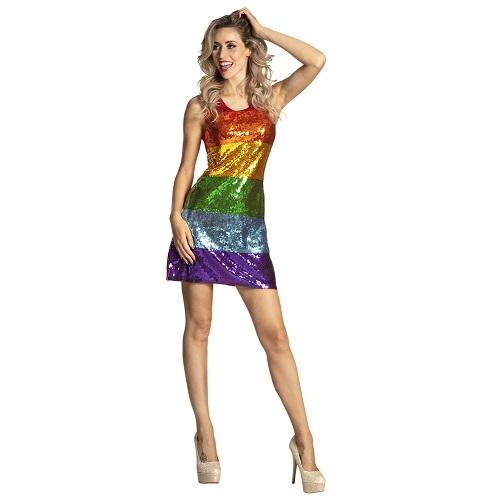 Pailletten jurkje regenboog