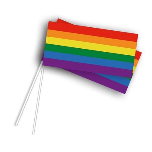 Papieren zwaaivlaggetjes regenboog