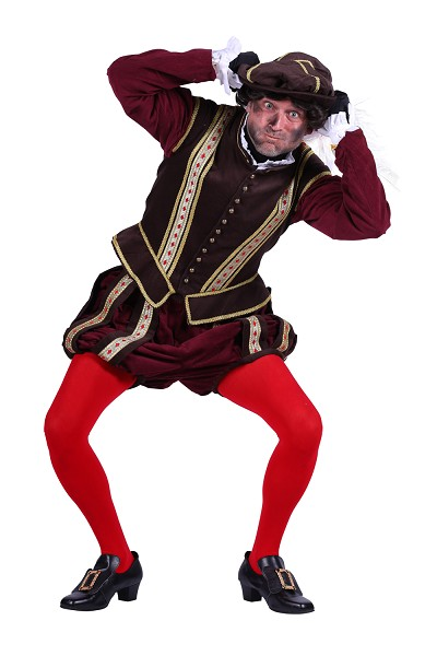 Piet kostuum Amsterdam donkerbruin-bordeauxrood - XS