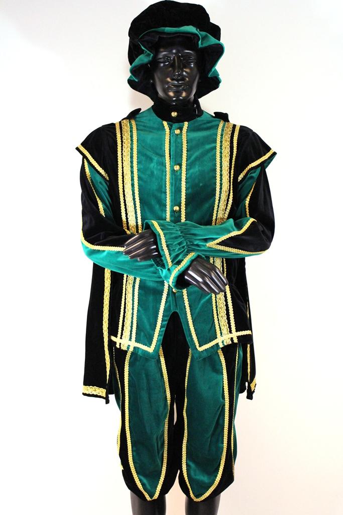 Pietenpak Alicante met cape groen/zwart