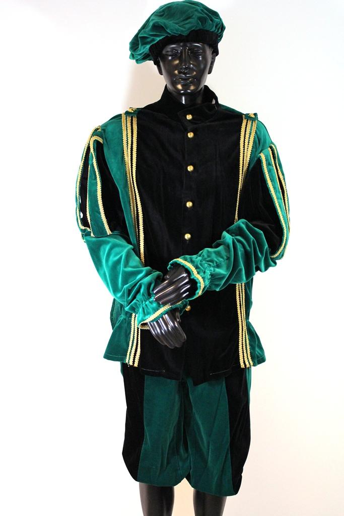 Pietenpak Alicante met cape zwart/groen - large