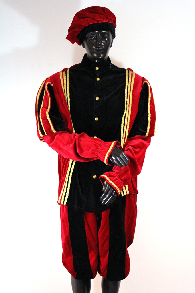 Pietenpak Alicante met cape zwart/rood - large