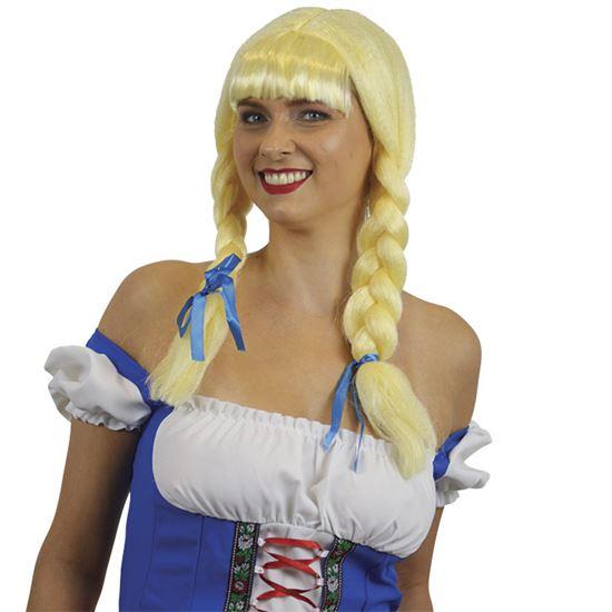 Pippie pruik blond met vlechten