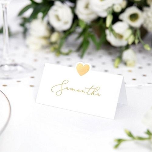 Plaatskaartjes bruiloft goud hart 10st