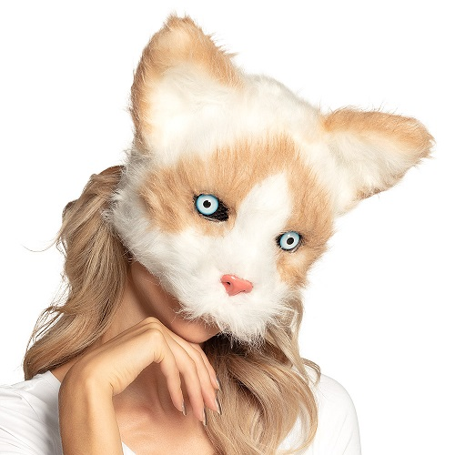 Pluchen halfmasker kat