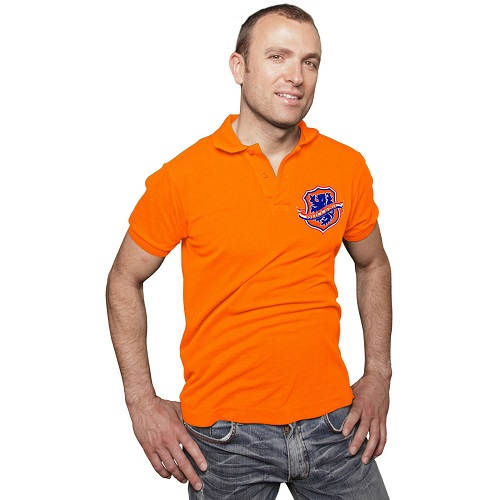 Poloshirt oranje met geborduurd wapen