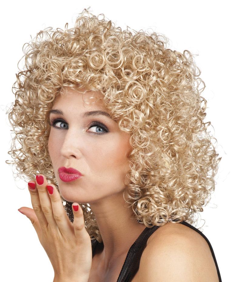 Pruik Club krullie blond