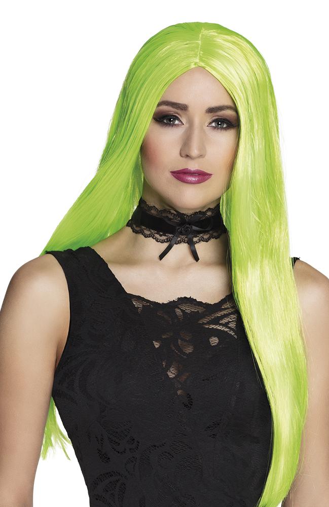 Pruik met lang haar neon groen