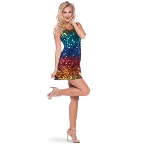 Regenboog pailletten jurk S/M