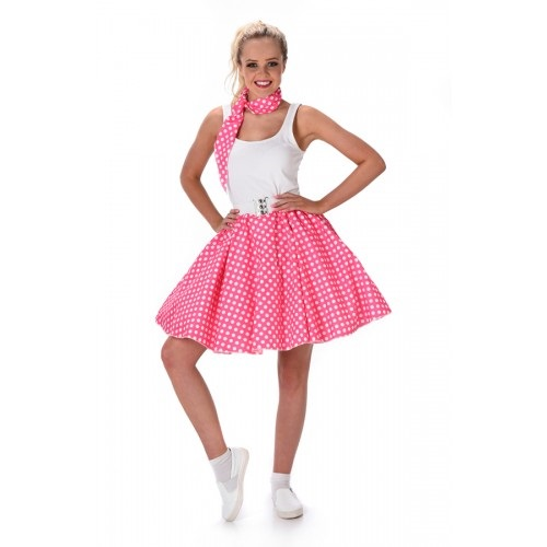 Rock n Roll polkadot rok roze - Large