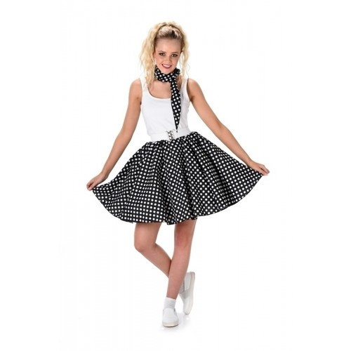 Rock n Roll polkadot rok zwart - Medium
