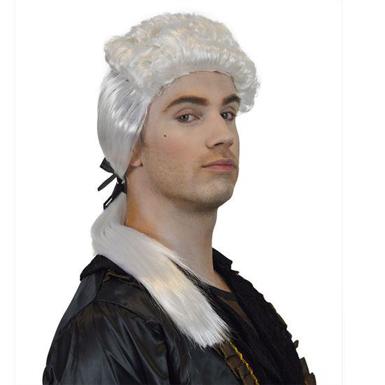 Rococo pruik heer met staartje