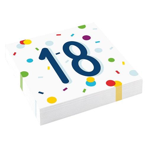 Servetten 18 jaar confetti 20st