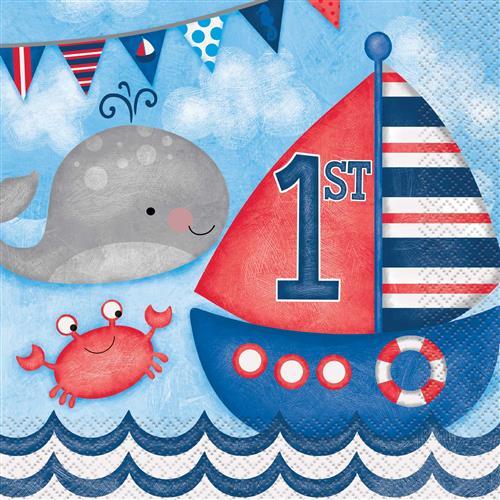 Servetten 1st birthday nautical