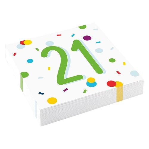 Servetten 21 jaar confetti 20st
