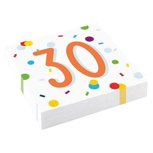 Servetten 30 jaar confetti 20st
