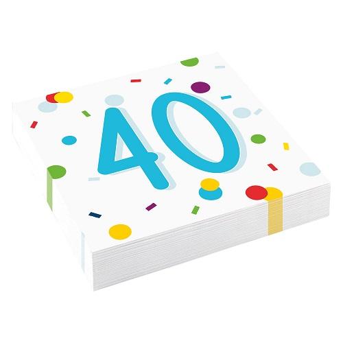 Servetten 40 jaar confetti 20st