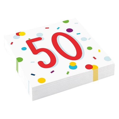 Servetten 50 jaar confetti 20st