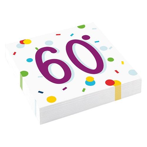 Servetten 60 jaar confetti 20st