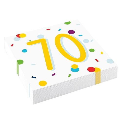 Servetten 70 jaar confetti 20st