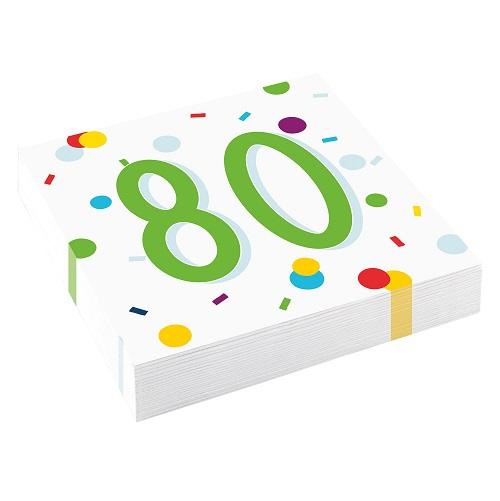 Servetten 80 jaar confetti 20st