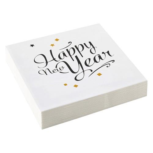 Servetten Happy new year golden wishes 20st