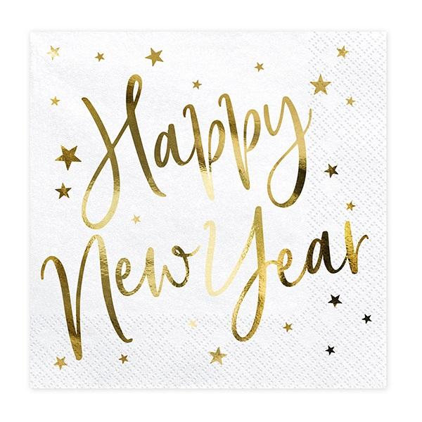 Servetten Happy new year goud