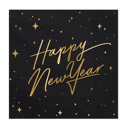 Servetten Happy New Year zwart/goud
