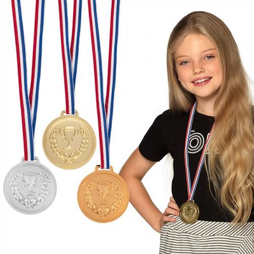 Set medailles goud zilver en brons
