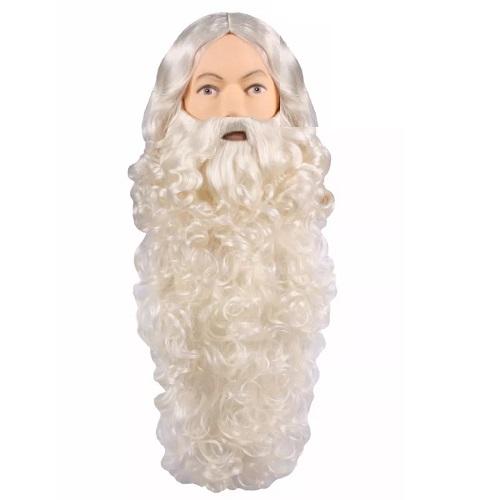 Sinterklaas baard en pruik basic ecru