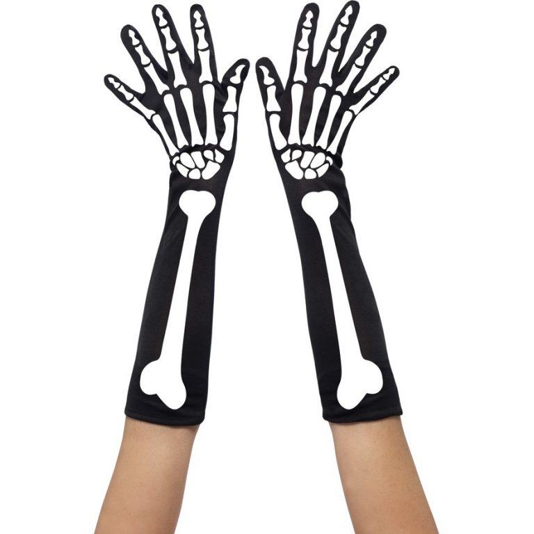 Skelet handschoen lang