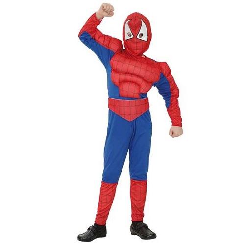 Spiderman pak met spieren - 122-138cm - 7-9 jaar