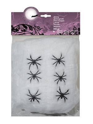 Spinrag 100gr met 6 spinnen